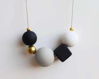 Modern chunky necklace, Statement necklace, Ball necklace, Black bead necklace, Beaded necklace, Modern black necklace, Handmade jewelry