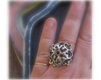 Big Renaissance dome Statement ring in sterling silver with purple amethyst