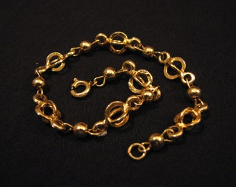 Vintage Gold Tone Puffy Round Dome Beaded Bracelet