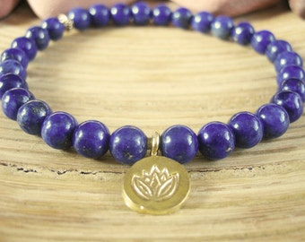 Lapis Lazuli Bracelet - Lotus Bracelet with Gold Lotus Flower Charm, Blue Yoga Mala Beads for Protection, Intuition, Stress and Wisdom