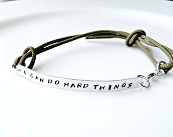 I Can Do Hard Things. Personalized Hand Stamped Bracelet with durable paracord.