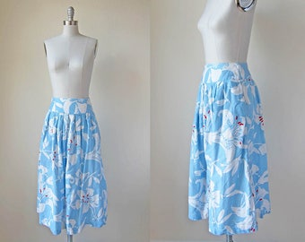 1980s vintage sky blue floral flower print high waist full fitted midi skirt xs