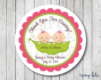 Twins Baby Shower Stickers, Twins Peas in a Pod Labels, Twins Baby Shower Tags, Twin Baby Tags