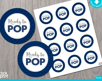 Navy Blue Baby Shower Print Yourself Cupcake Toppers or Stickers Ready to Pop, Navy Blue and Grey Baby Shower Printables, Decoration