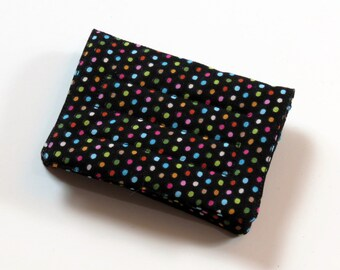 Mini Wallet - Multi Dots - fabric (with Credit Card slots and zipper Coin pocket)