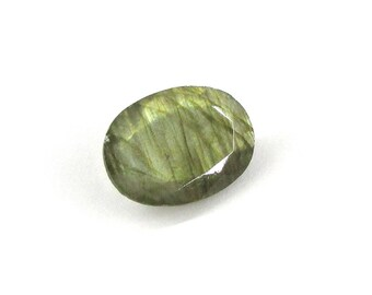 1pc Faceted Labradorite Stone, 18x13 mm Labradorite Gemstone, Faceted Gemstone, Loose Gemstone, Natural Gemstone, Green Gold Flash, Oval
