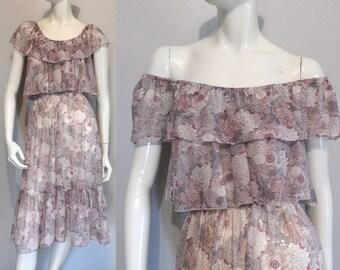 Vintage 1970s Boho Lilac Floral Off-Shoulder Dress
