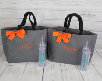 3 Bridesmaid Gifts Tote and Tumbler, Bridesmaids Gift, Wedding Tote and Tumbler Set, Personalized Tote and Tumbler, Bachelorette Party