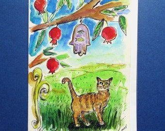 Jewish Card, Pomegranate Tree, Cat Gifts, Bar Mitzvah Card, Bat Mitzvah Card, Cat Mom, Judaica Art, Hand Painted Card, Cat Lovers, Chamsa