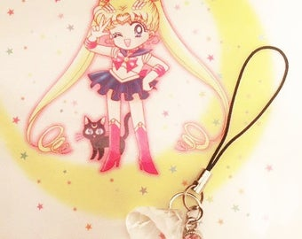 Sailor Moon Inspired Legendary Silver Crystal Phone Key Chain Charm Red or Pink