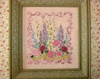 Pink Roses Flower Garden Cross Stitch Pattern