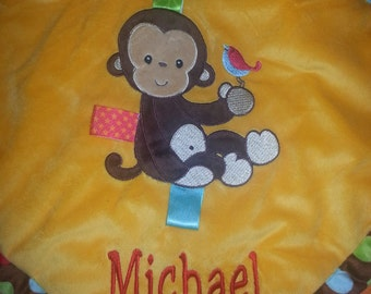"""Monkey Taggie Blanket - Personalized -  16"""" x 16"""" - embroidered baby gift"""