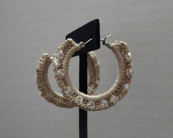 Beige Crochet Hoop Earrings with Clear Iridescent Bead Accents