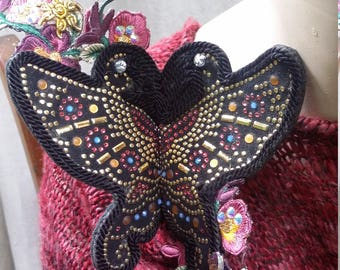 NIGHT BUTTERFLY. BROOCH, handmade, artsy, Unique,  ready to ship