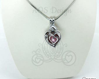 Pick A Pearl Cage Silver Plated Mother Hugging Daughter Son Baby Child Heart Charm Supply