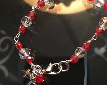 Crystal Beaded Bracelet w/ INITIAL OR CHARM