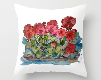 Outdoor Pillow Cover with Pillow Insert, Outdoor Pillow Cover, Red Geranium Love