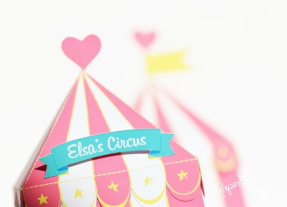 Carnival Toy Box Pink: Circus Tent Favor Box Gift Box Girly Party Circus Party