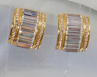 Vintage Showstopper Clear Baguette Rhinestone Earrings. Clear Baguette Rhinestone Earrings.  Ear Hugger Earrings.