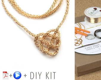 Knot Necklace - Celtic Knot Necklace  - Love knot necklace - DIY Kit - Wire crochet pattern - Jewelry Making Kit - Crochet jewelry Kit