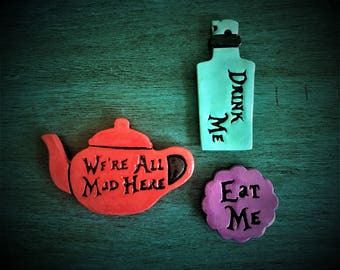 Handmade Cermaic Magnets or Tree Ornaments with Alice in Wonderland Sayings