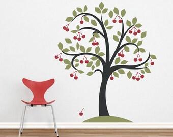 Cherry Tree Vinyl Wall Decal - Nursery Tree Sticker, Nature Wall Decal, Tree Wall Sticker, Leaves Decal, Cherry Decal, Cherry Tree Art
