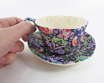 MADE-TO-ORDER ( 1 - 2 Weeks)- Textile Teacup Tidy- Liberty Strawberry Thief William Morris