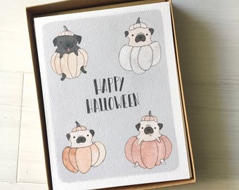 Halloween Pugs - 10 pc Boxed Cards, Halloween Boxed Cards, Halloween Pug, Pug Card, Halloween Stationery, Fall Stationery, Gift for friend