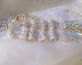 Lace Garter, Something Blue, Crochet Garter, Bridal, Lingerie, Neutral, Off White, Crochet Lace, Bridal Lace, Ready to ship