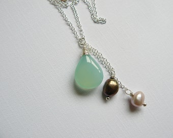 Aqua Chalcedony and pearl Cascade necklace