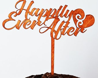 Cake Topper; Wedding, Happily Ever After