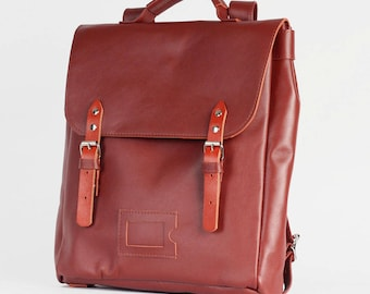 Chestnut brown Satchel leather and suede backpack rucksack / To order / Leather Backpack / Leather rucksack / Christmas Gift