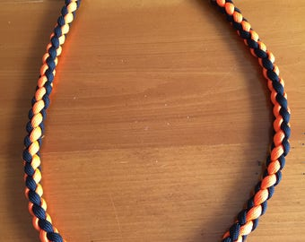 Orange and Black  Paracord Necklace 23 inch