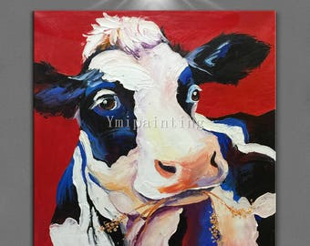 Cow painting on Canvas Original Cow art  farm animal painting palette knife oil painting Wall Art Pictures for living room heavy texture