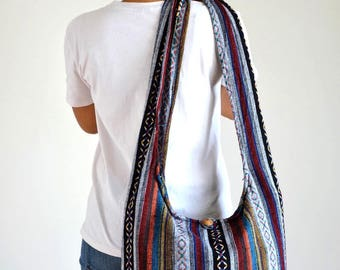 Woven Bag Hippie Crossbody Messenger Bag Boho Hobo Bag Tribal Bag Cotton Handbags Purse NW6