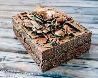 Steampunk style cigar box - Gift for him - Groomsman gift - Gift box - Storage box - Decorative box - Recycled art - Home decoration box