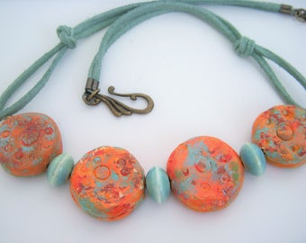 Orange Clay Necklace, Abstract Necklace, Red, Blue Porcelain, N628