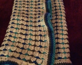 Baby Blanket Blue, Teal and Gray