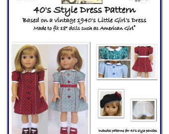 """Forties Style Doll Dress Pattern for 18"""" AG dolls"""