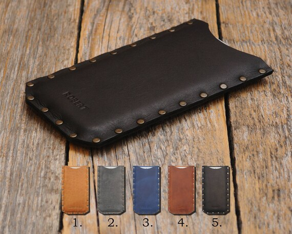 OnePlus 6 5T 5 3T 3 X 2 One case waxed genuine brown leather cover Personalized your name Rough style sleeve riveted case pouch Custom Sizes