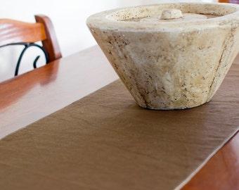 Reversible Table Runner – Chocolate & Natural Hemp / Organic Cotton