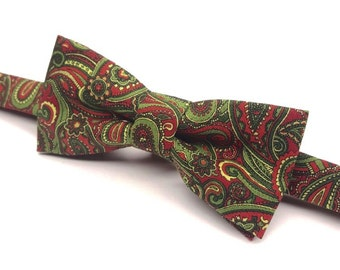 Red & Green Christmas Bow tie, Men's Christmas Bow tie, Red and Green Bow tie, Christmas Bow tie for Men, Kids Christmas Bow tie, Holiday