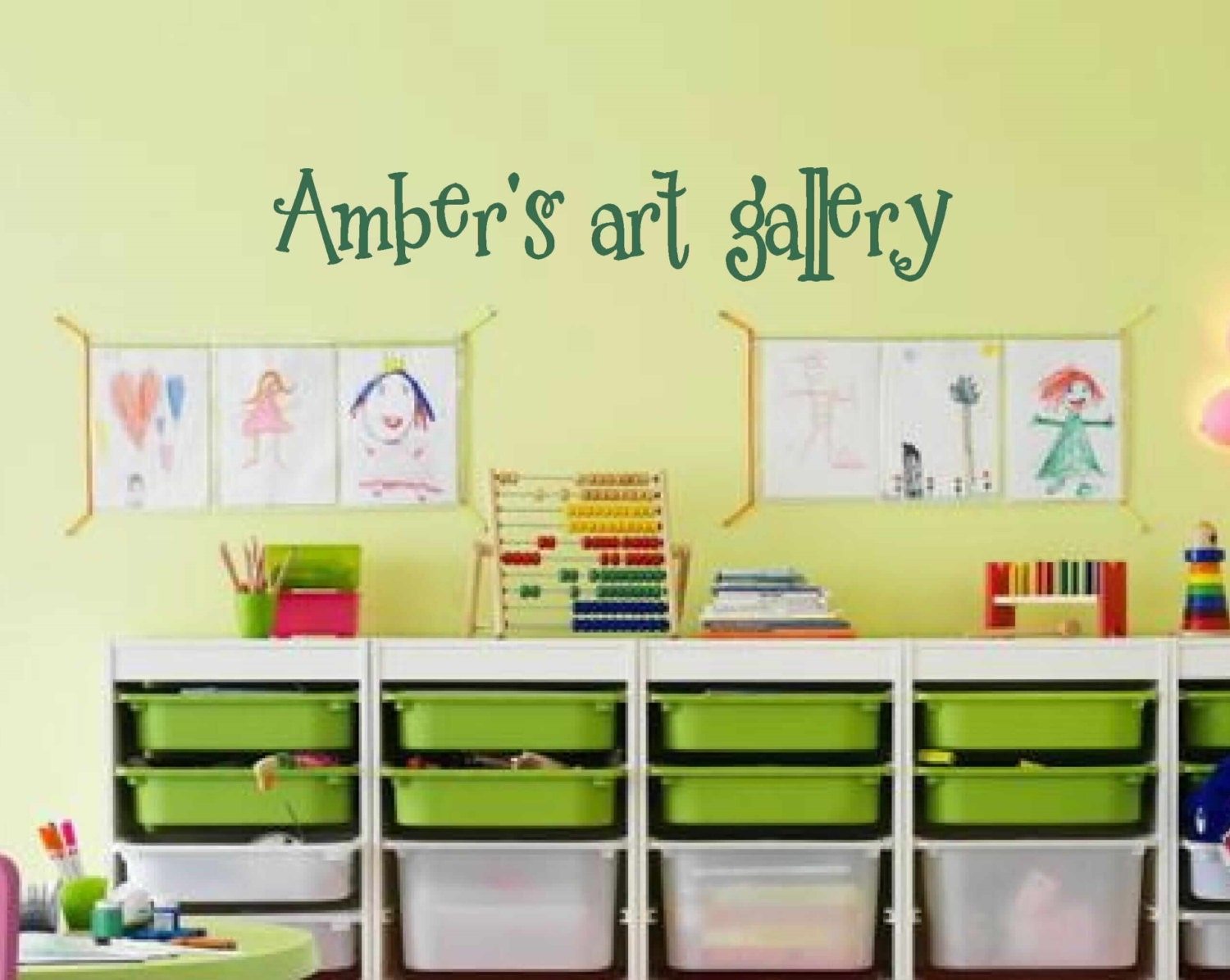 Personalized art gallery wall decal kids playroom decal
