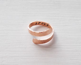 Custom Personalized Organic Hand Stamped Copper Hammered Hidden Message Adjustable Ring Wrap Ring Solid Raw Copper