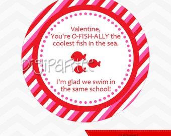 INSTANT DOWNLOAD - Goldfish Valentine Treat Bag Tags