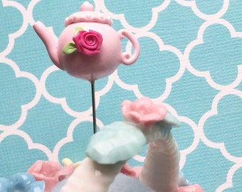 Pretty in Pink Rose Teapot Pin Topper