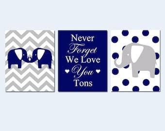 Elephant Nursery Art Trio - Set of Three 11x14 Prints - Chevron and Polka Dot Elephants - Never Forget We Love You Tons - Choose Your Colors