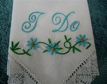 A Beautiful Exclusive Premium Bridal Hankie REDUCED Custom Made Just for You for Your Wedding. Select YOUR colors and embelishments.