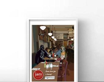 Retro Travel Print: Jam Cafe (Victoria, Vancouver Island, BC)