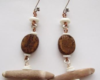 Bali Sterling Silver Earring  Long Beach Themed Earring Beach Jewelry Wood and Urchin Spine Stick Dangle Earring Unique Jewelry Long Earring